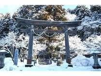 戸隠神社中社と木々に咲く綿雪