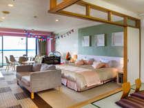 ベビー和洋室65平米(和6帖)定員5名(禁煙):和室や大きなベッドで赤ちゃん安心です。