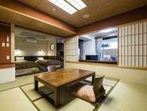 本館・新館共に、露天風呂付和洋室はハイクラスなお部屋。ゆったりしたスペースが嬉しい!