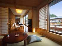 【風の音】和室6畳+ツインベッドルーム+半露天風呂付離れ(禁煙室)