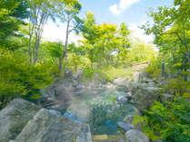 開放的な露天風呂。大自然に囲まれて小鳥のさえずりを聞きながら。夜、空を見上げれば星空を楽しめる。