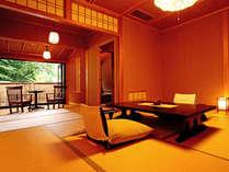 *<和邸 山王院「舞」>ゆったりと余裕のある和室に専用の源泉掛け流し温泉の檜風呂がついたお部屋です。