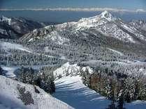 *横手山の景色。山の奥に見える尾根伝いお眺めが気持ち良いです。