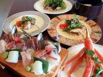 大好評いただいております、伊豆の魚介たっぷりの御夕食一例です。秘密のアツアツデザートも楽しみ~♪