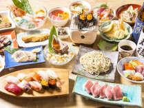 *浜料理フルコース一例(アワビ・ウニ・寿司・天ぷら等、全10品をご用意いたします。)