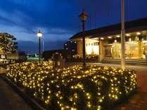 ■【本館エントランス】 噴水を囲む植栽周辺から照明点灯時の風景です。