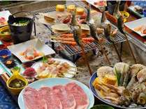 黒毛和牛+比内地鶏+サザエ+ヒメマス付き炉端料理