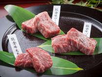 能登牛3種類の部位。能登牛食べ比べ「モモ・ロース・バラ」をご用意致します。