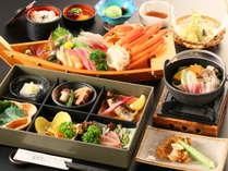 蟹入り舟盛付き夕食一例