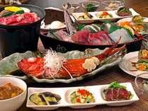 満腹プランの1例◎地魚の舟盛り◎金目鯛の姿煮◎国産牛のステーキ