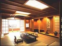 露天風呂付特別客室「雪月花」。高級感あふれる和風空間に満足