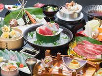 三泉閣の夕食は、旬食材を使用した会席料理