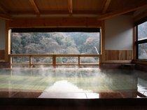 雄大な自然を満喫できる源泉かけ流し展望風呂御婦人大浴場 かわせみの湯