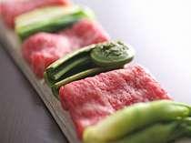 創作会席一例 山菜と牛肉