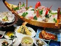 【部屋出し】金目鯛か旬の地魚の舟盛り!潮風プラン