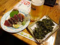 鰹のたたき、青さのりの天ぷらなど♪お好きなお席で土佐の味をお楽しみください!