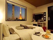 タワービューのお部屋は寝ながらベッドで東京タワーが見ることが出来、特別な思い出をプレゼントします。