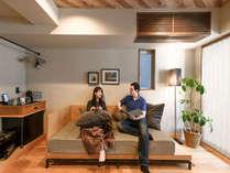 大きなソファーはソファーベッドとしてもお使いいただけます。|ホテルVintage東京銀座