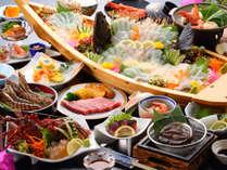 【夕食一例/極み~グレードアッププラン29年度春夏】伊勢えび、あわび、車海老!天草の海鮮を贅沢に堪能!