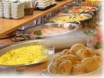無料の朝食バイキングにはヨーロッパ直輸入5種の無添加パンが召し上がれます!