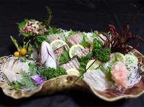 伊勢海老、アワビ、鯛の活造り