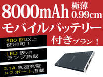 【特典付】8000mAh 極薄0.99cm モバイルバッテリー付きプラン(素泊まり)男女別大浴場!!