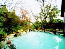 森の岩風呂は気温と共に変化する乳白色の硫黄泉