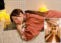 大人気の女性大浴場内の無料岩盤浴室(3床、予約制)