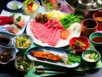 ■夕食全体 信州ポークの柔らか豚しゃぶを中心とした夕食です。お肉200グラムでボリューム満点!