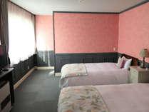 210 Deluxe Twin 居間とセミダブル(2.0mx1.2m)のツインベッドルームが独立しています。