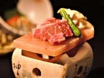 【グレードアップ】夕食をちょっと贅沢に♪ 信州産牛の『岩塩板ミニステーキ』付き会席にアップ!