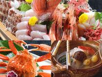 名物荒磯舟盛と蟹料理に秋の味覚【松茸土瓶蒸し】が付いて更に贅沢に。