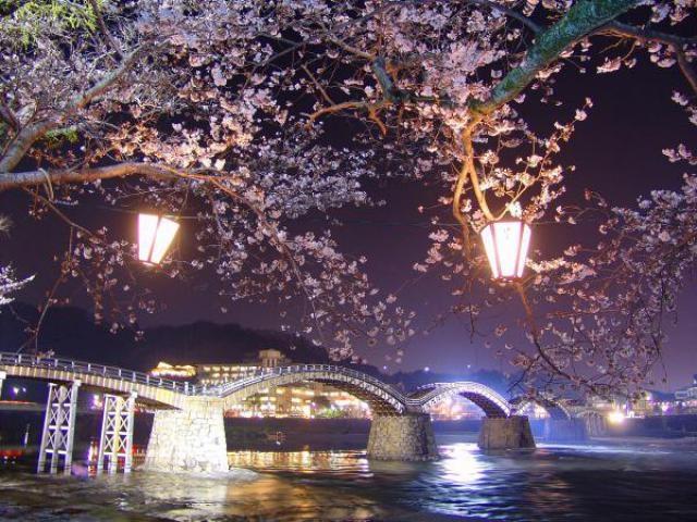 錦帯橋ライトアップ